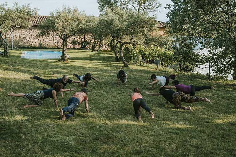gente tumbada en el césped haciendo yoga